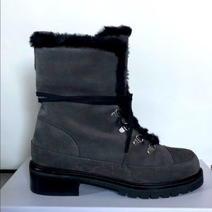 Lace-up grey/slate suede boot